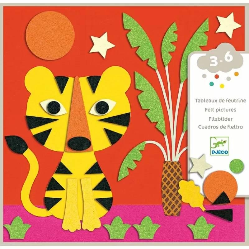 Колажи за малки деца с меки стикери от филц Djeco - Животни